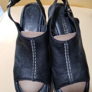 Brown open toe sandle with wedge heel
